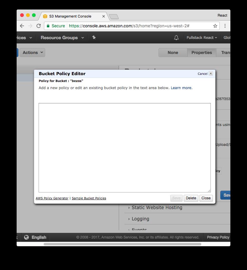 Fullstack React: Deploying a React app to S3